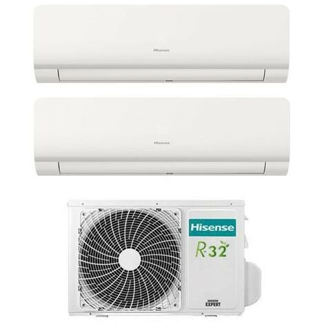 Aire acondicionado Inverter Hisense New Comfort Dual Split 9+12 9000+12000 BTU clase energética R-32 A++   Blanco