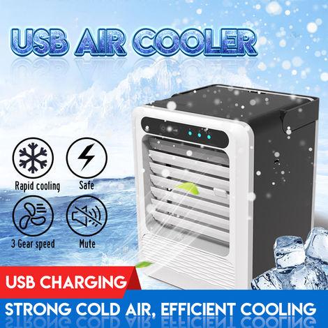 Aire acondicionado portátil Ventilador de 3 velocidades Enfriador de aire USB Humidificador Dormitorio frío Tiempo de 2-8 h