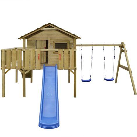 Aire de jeu, échelle, toboggan, balançoires 480x440x294 cm Bois