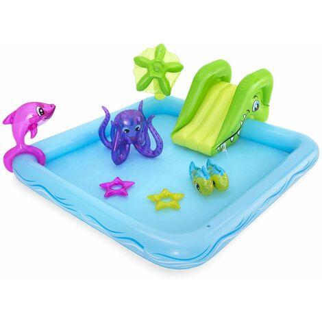 Aire de jeu gonflable avec toboggan, fontaine et jet d'eau, pataugeoire de 239 x 206 x 86cm, dauphin, poissons, pieuvre et anneaux gonflable