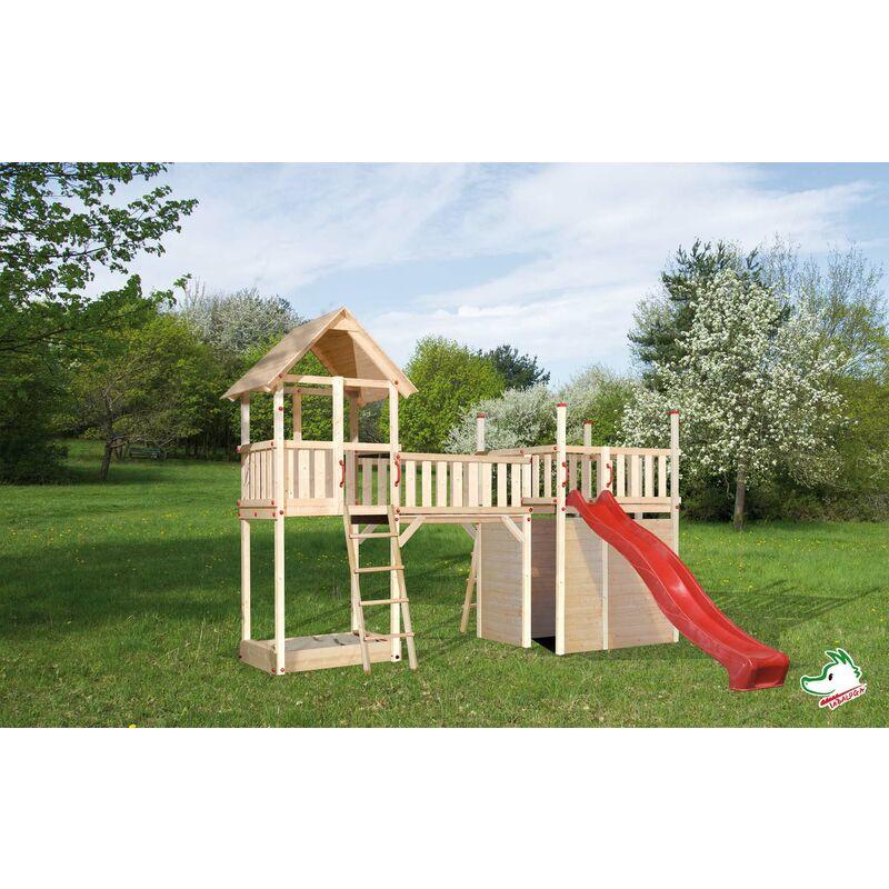 Aire de jeu en bois WEKA avec plateforme, pont, tour de jeu et toboggan