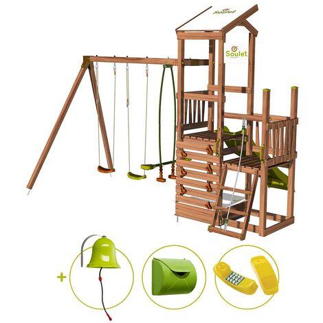 Aire de jeux 2 tours avec portique et mur d'escalade - FUNNY Swing & Climbing 120 et son kit d'accessoire MAISON