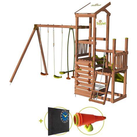 Aire de jeux 2 tours avec portique et mur d'escalade - FUNNY Swing & Climbing 120 Kit d'accessoire DECOUVERTE