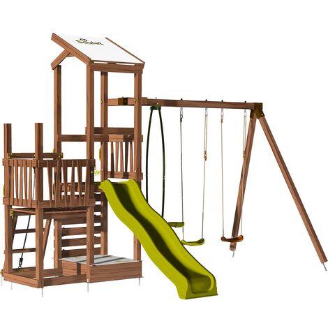 Aire de jeux 2 tours avec portique et mur d'escalade - FUNNY Swing & Climbing 120 sans option
