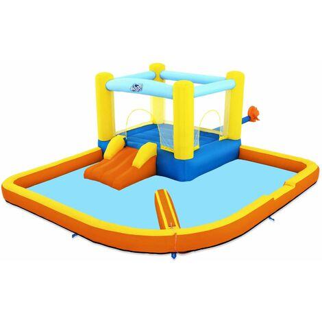 Aire de jeux à air constant avec pataugeoire et toboggan 365x340x152cm, souffleur, sac de transport et kit de réparation offert