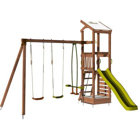 Aire de jeux avec mur d'escalade et portique - HAPPY Swing & Cli