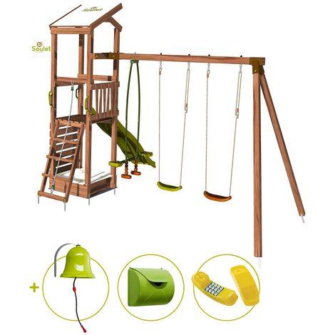 Aire de jeux avec mur d'escalade et portique - HAPPY Swing & Climbing 120 et son kit d'accessoire MAISON