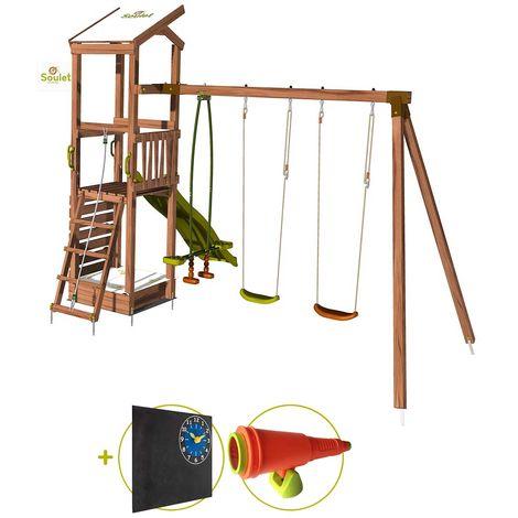 Aire de jeux avec mur d'escalade et portique - HAPPY Swing & Climbing 120 Kit d'accessoire DECOUVERTE