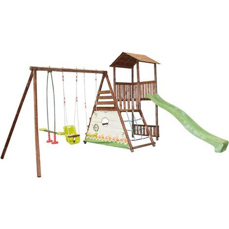 Aire de jeux avec plateforme en bois - Lombarde