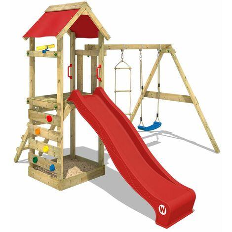 Aire de jeux bois WICKEY FreeFlyer avec toboggan, bac à sable etbalançoire, rouge