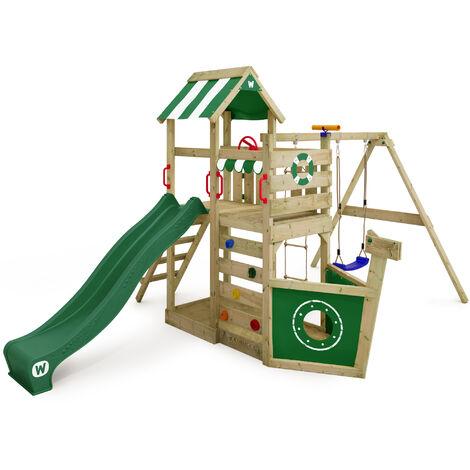 Aire de jeux bois WICKEY SeaFlyer Portique de jeux en bois Maison pour jardin avec balançoire et toboggan, vert