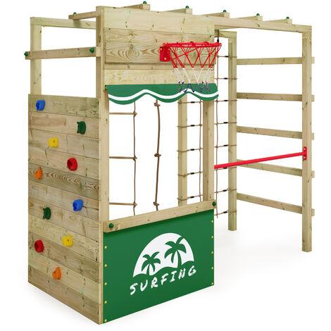 Aire de jeux bois WICKEY Smart Action avec boutique et échelle horizontale – Vert