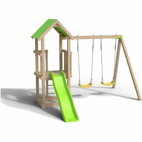 Aire de jeux EASY XPERIENCE, Plateforme 0,90m, bac a sable, toboggan 1,73m + extension portique 1,90m,2 balançoires