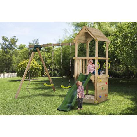 """main image of """"Aire de jeux en bois enfants 3-12 ans, toboggan vert pomme, 2 balancoires, bac a sable et mur d'escalade"""""""
