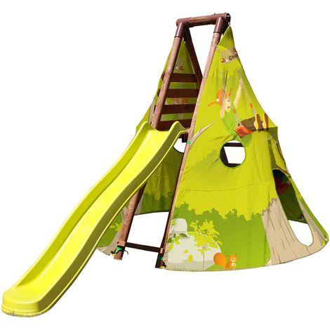 Aire de jeux en bois et toile avec toboggan - Geronimo
