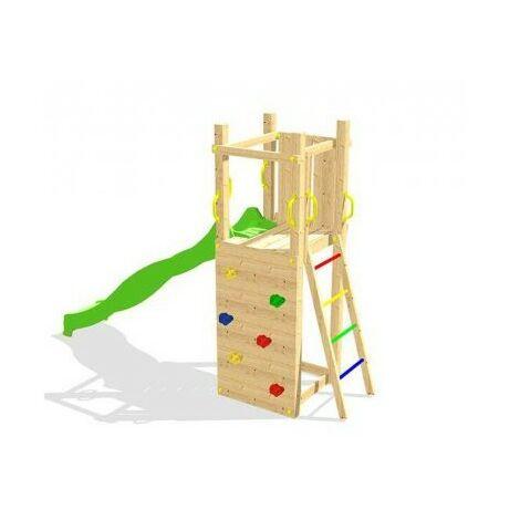 Aire de jeux en bois ZEBULON - Mur d'escalade + Toboggan + Echelle d'accès