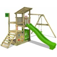 Aire De Jeux FATMOOSE FruityForest Fun XXL Portique Bois Sur 3 Niveaux,  Toboggan Vert Et
