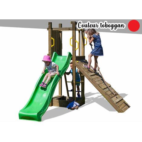 Aire de jeux Funny 3 + bac à sable et rampe - Toboggan Rouge