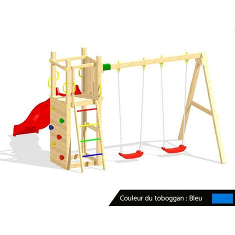 Aire de jeux Funny 3 + balançoire double + Toboggan Bleu