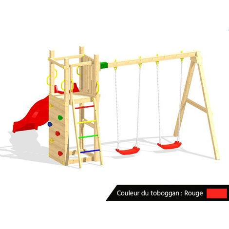 Aire de jeux Funny 3 + balançoire double + Toboggan Rouge