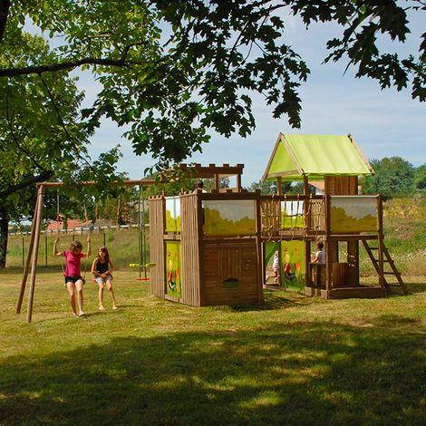 Aire de jeux géante style château en bois - Chambord