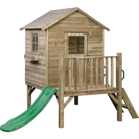 Aire de jeux maisonnette en bois traite swing king cabane sur pilotis avec terrasse et - Porte cabane bois ...