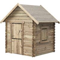 Aire de jeux maisonnette Swing King en bois traite , cabane, avec porte en 2 parties, fenetre avec volet. Dim 120X120X160 Cm Louise