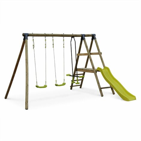 Aire de jeux MARIN en bois avec toboggan, 1 face à face, 2 balançoires, pin autoclave