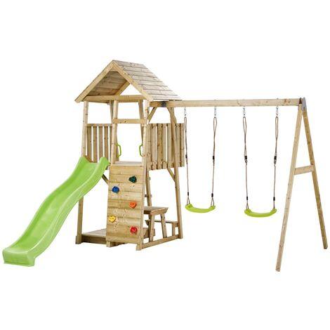 Aire de jeux portique en bois WOODI - Double balançoire toboggan escalade bac à sable table cabane échelle - Marron