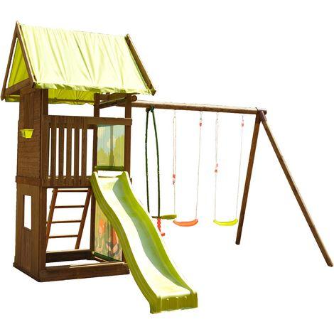 Aire de jeux portique, tour, bac à sable et toboggan - Montebello