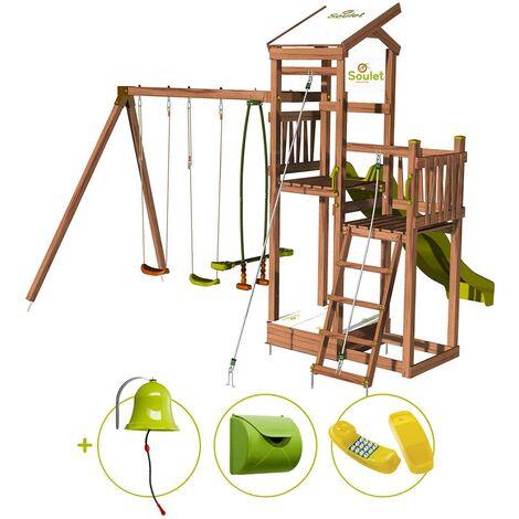 Aire de jeux pour enfant 2 tours avec portique et bac à sable - FUNNY Swing 150 et son kit d'accessoire MAISON
