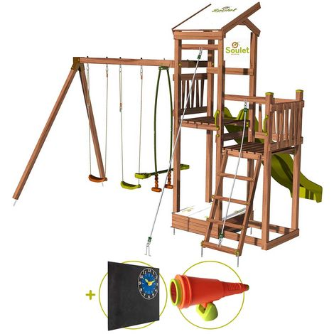 Aire de jeux pour enfant 2 tours avec portique et bac à sable - FUNNY Swing 150 Kit d'accessoire DECOUVERTE