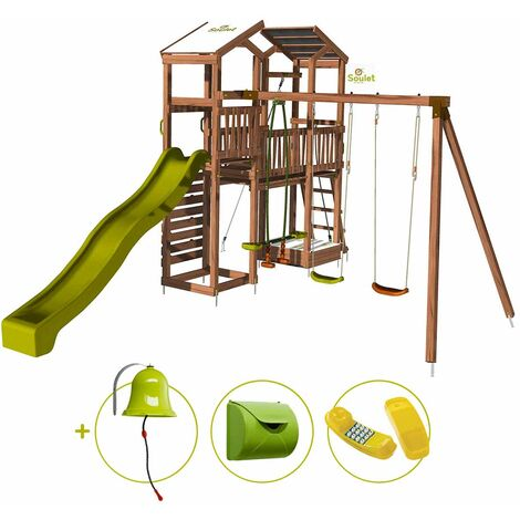 Aire de jeux pour enfant 2 tours avec portique et mur d'escalade - FUNNY Big Climbing et son kit d'accessoire MAISON