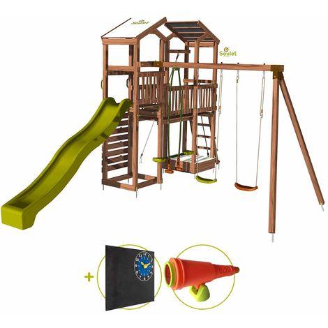 Aire de jeux pour enfant 2 tours avec portique et mur d'escalade - FUNNY Big Climbing Kit d'accessoire DECOUVERTE