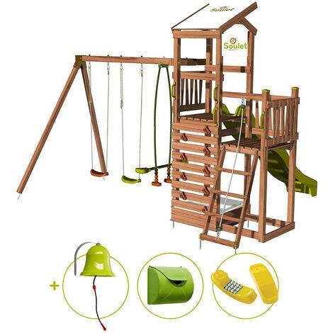 Aire de jeux pour enfant 2 tours avec portique et mur d'escalade - FUNNY Swing & Climbing 150 et son kit d'accessoire MAISON