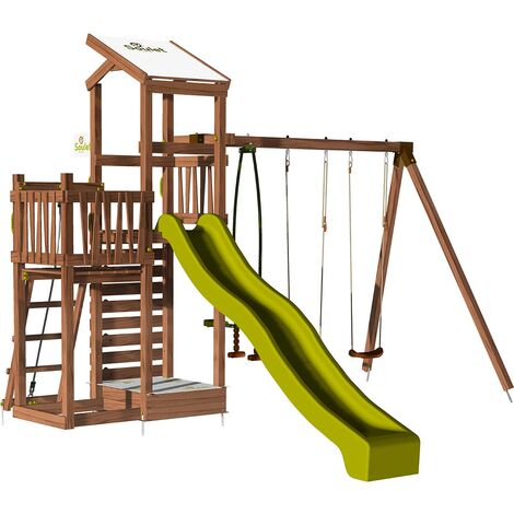 Aire de jeux pour enfant 2 tours avec portique et mur d'escalade - FUNNY Swing & Climbing 150 sans option