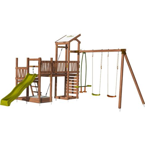 Aire de jeux pour enfant 3 tours avec pont et portique - CRAZY Bridge sans option