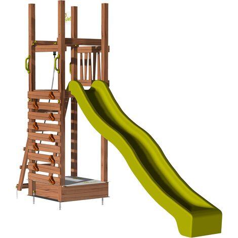 Aire de jeux pour enfant avec mur d'escalade et bac à sable - HAPPY First 150 sans option