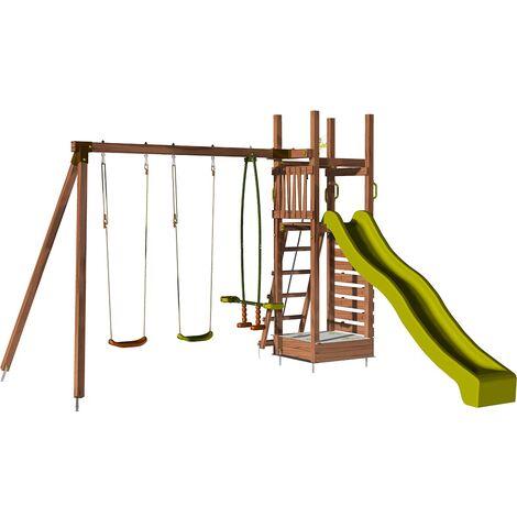 Aire de jeux pour enfant avec portique et mur d'escalade - HAPPY Swing & Climbing 150 sans option