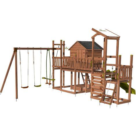 Aire de jeux pour enfant maisonnette avec mur d'escalade et corde