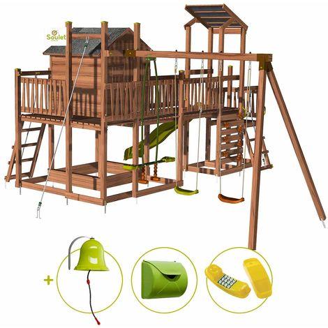 Aire de jeux pour enfant maisonnette avec mur d'escalade et corde à grimper - COTTAGE CRAZY et son kit d'accessoire MAISON