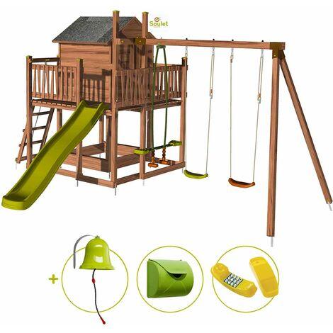 Aire de jeux pour enfant maisonnette avec portique - COTTAGE et son kit d'accessoire MAISON