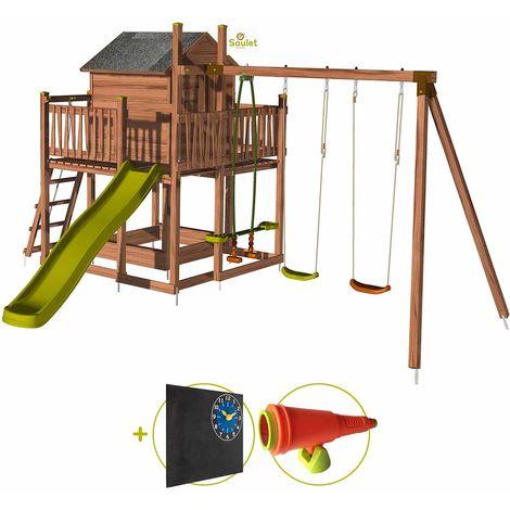 Aire de jeux pour enfant maisonnette avec portique - COTTAGE Kit d'accessoire DECOUVERTE