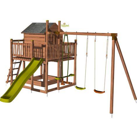 Aire de jeux pour enfant maisonnette avec portique - COTTAGE sans option