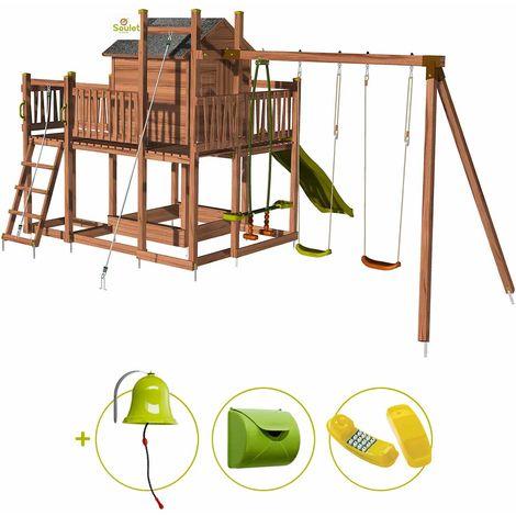Aire de jeux pour enfant maisonnette avec portique et corde à grimper - COTTAGE HAPPY et son kit d'accessoire MAISON