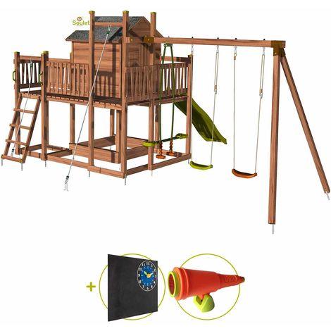 Aire de jeux pour enfant maisonnette avec portique et corde à grimper - COTTAGE HAPPY Kit d'accessoire DECOUVERTE