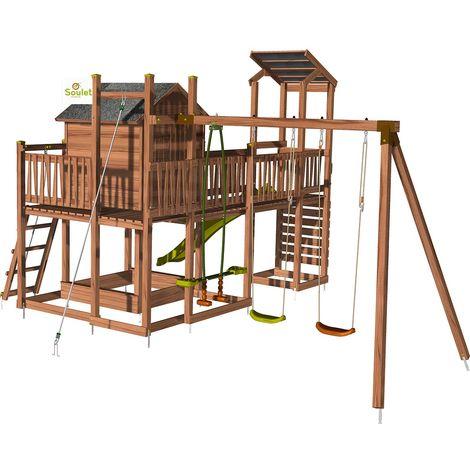 Aire de jeux pour enfant maisonnette avec portique et mur d'escal