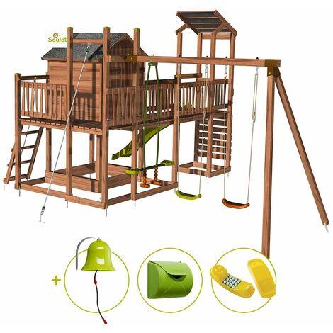Aire de jeux pour enfant maisonnette avec portique et mur d'escalade - COTTAGE FUNNY et son kit d'accessoire MAISON