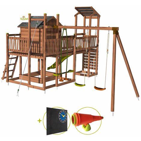 Aire de jeux pour enfant maisonnette avec portique et mur d'escalade - COTTAGE FUNNY Kit d'accessoire DECOUVERTE