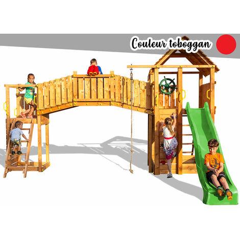 Aire de jeux Rainbow Fortress Tip - Toboggan Rouge